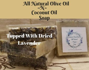 All Natural Handmade Chemical Free Vegan Soap, Made Of Coconut Oil, Olive Oil And Mica For A Natural Exfoliant , Topped With Dried Lavender
