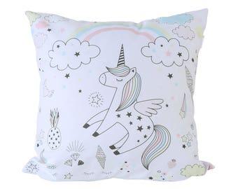 Unicorn pillow cotton children kids unicorn decorative pillow cover nursery pillow