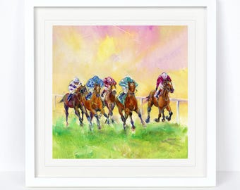 Winning Colours - Horse Racing Limited Edition Print from an Original Sheila Gill Watercolour. Fine Art,Giclee Print,Hand Painted,Home Decor
