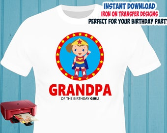 Superhero Girl , GRANDPA , Iron On Transfer , Superhero Birthday Shirt Design , DIY Shirt Transfer , Digital Files , Instant Download