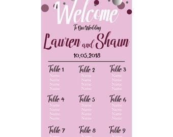 """Personalized Printable Wedding Seating Chart 21""""x40"""""""