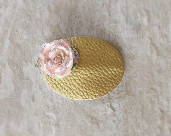 Gold Oval Floral Snap Clip - Chunky Glitter - Prima Flowers - Faux Leather - Snap Clips - 50mm Clips