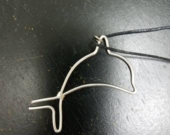 Wire dolphin pendant