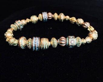 Antiqued Gold and Verdigris Beaded Bracelet
