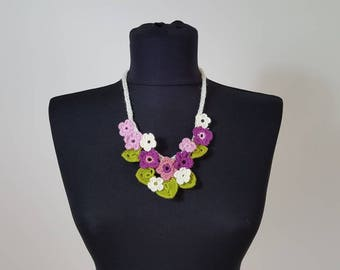 Hand-knit Crochet Necklace: Spring