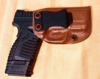 Kydex IWB Holster Springfield XDS 3.3 9/40/45 9mm, .40 and .45 brown leather look -  free ship!