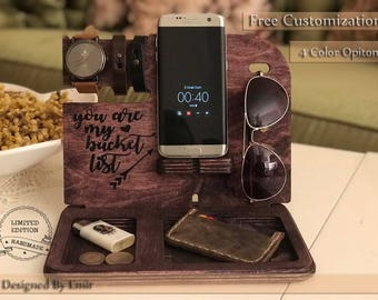 PERSONALIZED MENS GIFT, Docking Station, gifts for men, gift for boyfriend, wooden apple watch stand, gift ideas for men, boyfriend gifts.