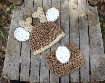 Baby Deer Hat with Diaper Cover Crochet Deer hat and Diaper Cover Baby Animal outfit photography prop