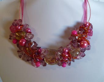 Rose necklace with Central Murano glass