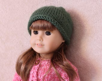 Hand-Knit Cozy Green 18-Inch Doll Hat