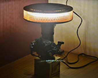 Carburetor Desk Lamp, car lamp, air filter lamp India, fiat carb lamp, chic lamp ,quirky lamp