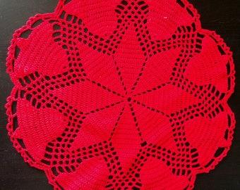 "Handmade, handmade, tablecloth ""Red bells"", handmade crochet covers, crochet, decoration, decor, decoration, Easter gifts"