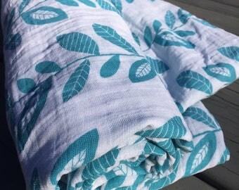 Baby blanket, Swaddle blanket, Baby shower, Gauze, Leaves