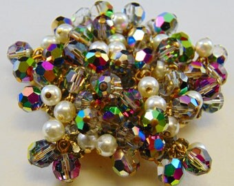 DeLizza and Elster D&E Juliana Vitrail Bead, Glass Pearl and Black Diamond Brooch As Is