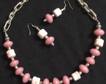 Pink and white ceramic beads with silver chain with matching earrings