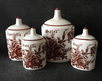 Set of 4  Ceramic Canisters ,Vintage italian Spice Jars , Kitchen Canisters  50's, White  porcelain with brown  Flowers