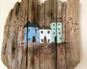 Coastal House, Acrylic and driftwood, rustic, nautical, wall art
