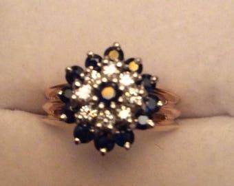 Sapphire/diamond ring 14K goldpreowned
