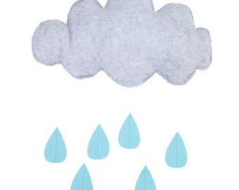 Fabric Cloud with Raindrops grey