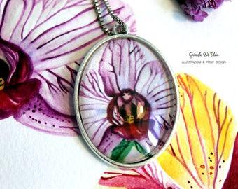 Orchid Oval Medallion, oval medallion, oval pendant, pendant necklace, flower pendant, orchid, handmade, gift idea