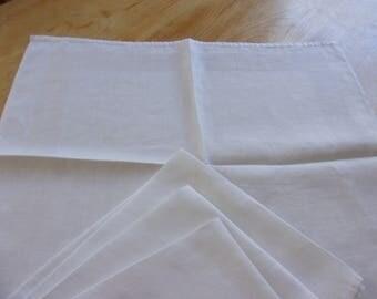 Vintage Damask Napkins White Set of Four