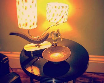 Side table, Lamp, and dish combo