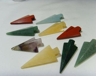 9 assorted Gemstone Arrowhead pendant Lot Natural termination crystal reiki healer chakra lapidary