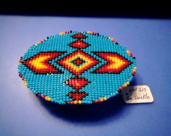 Seed beaded belt buckle