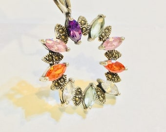 Colourful Boho-Chic Cubic Zirconia and Marcasite .925 Sterling Silver Necklace