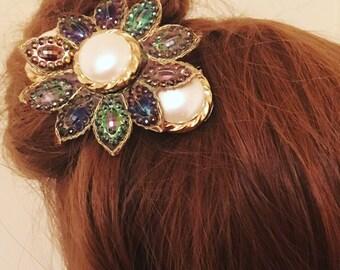 Flower barette hair clip.