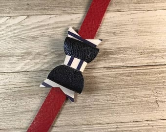 Leather bracelet, Red leather bracelet, Bracelet with Bow, Red and Navy