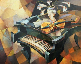 Still life(100x80sm size,  oil painting, roled in the tube, cubism, piano, calla)