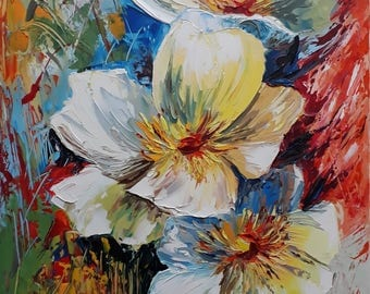 White flowers(oil painting, 35x55cm, ready to hang, modern art, impressionistic, paper)