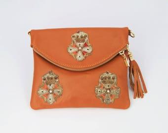 Tan Leather Clutch Bag Embellished with Vintage Indian Appliques