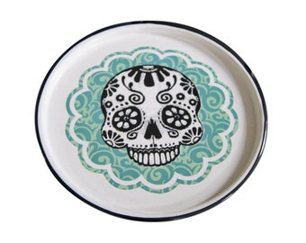 "Enamel Skull Tray Mexican Original Art Work Contemporary Design ""Craneo Floral"""