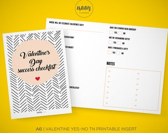 A6 Size | Valentine's Day Success Checklist, Yes, No, TN Printable Insert Planner - Traveler's Notebook, Foxy Fix No. 3 - INSTANT DOWNLOAD!