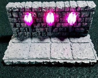 LED Torch Wall 28mm Terrain Dungeon Terrain D&D Dungeons and Dragons Wargames Pathfinder Table Top Roleplaying Modular