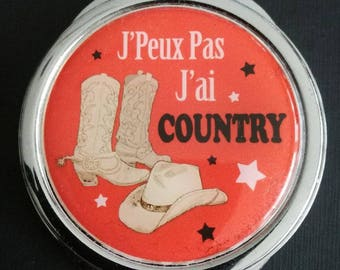 "Pocket mirror ""I can't I have COUNTRY"" Red"