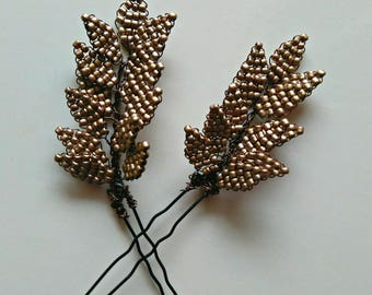Beaded Hairpins, Bronze Beaded Leaf Hairpins, Set of 2 Hairpins, Bridal Hair Accessories, Prom Hair Accessories