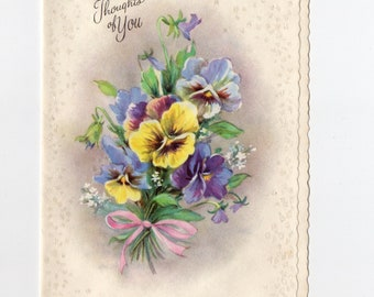 Vintage Thoughts of You Pansies Card | Sarah Doudney Quote | Greeting Card | Coronation Collection Made in USA | Paper Ephemera