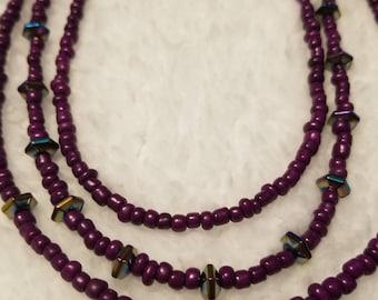 Hematite and Purple beaded Necklace
