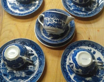 Blue and White Japan stamped tea set