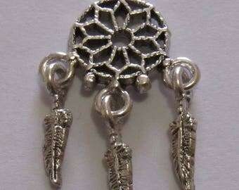 "Silver Plated DreamCatcher Charm, 1 1/4"" in length and 3/4"" in width. DIY Crafts. Jewelry Supplies."