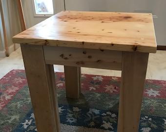 Rustic Pecky Pine Side Table Beautiful  Top Grain