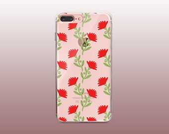 Floral Clear TPU Phone Case for iPhone 8- iPhone 8 Plus - iPhone X - iPhone 7 Plus-iPhone 7-iPhone 6-iPhone 6S-Samsung S8