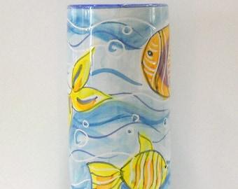 Handmade Vietri ceramics, hand-decorated paper cups h 20 x 10 Ø cm