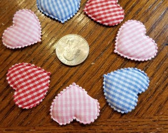 Applique Padded Gingham Hearts 20  Pieces for sewing/doll making/hairbow/scrapbooking/crafts, etc.