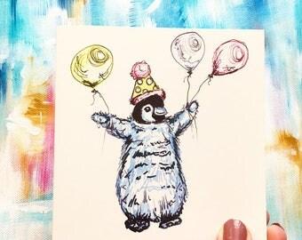 Penguin, Birthday card, cute card, penguin card, birthday penguin card, card for friends-engagement Card, new baby card