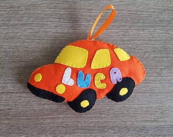 Car birth bow with name of choice