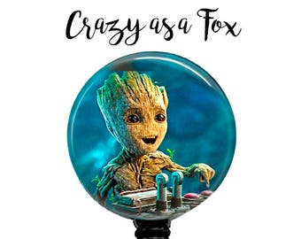 Guardians of the Galaxy  Baby Groot Retractable Badge Holder, Badge Reel, Lanyard, Stethoscope ID Tag, Teacher, md rn cna pa